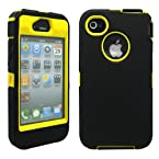 Black & Yellow Three Layer Silicone PC Case Cover for iPhone 4 4G 4S
