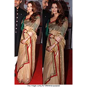 Bollywood Replica Aishwarya Rai Net and Paper Silk Saree In Beige and Green Colour NC627