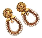 Vendee Fashion Pearl Designer Earrings Maroon Green ,Copper For Women (7316 )