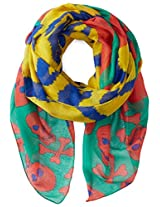 D&Y Women's Zig Zag Stripe and Skull Oblong Scarf
