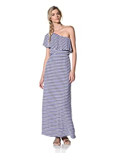 Luna  Women's Kylie One Shoulder Ruffled Dress (Ocean/White Stripe)