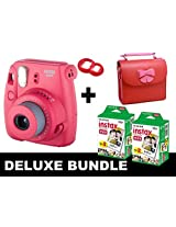 Fujifilm Instax Mini 8 - Raspberry + 40 Pack Instax Film + Butterfly Red Gm Bag + Red Selfie Mirror
