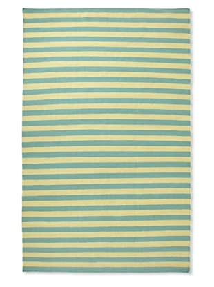 Flatweave Green Stripes, 6' x 9'