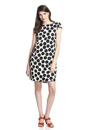 Gabby Skye Women's Cap Sleeve Shift Dress (Ivory/Black)