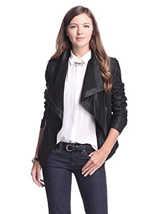 Elie Tahari Women's Virginia Asymmetrical Leather Jacket (Black)