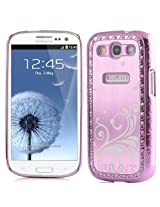 Pandamimi Deluxe Baby Pink Steel Aluminum Chrome Bling Crystal Diamond Rhinestone Hard Case Skin Cover for Samsung i9300 Galaxy S3