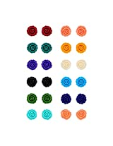 Pearls Cart Combo Of 12 Beautiful Multi Coloured Flower Coral Studs / Earrings (Mediom)(Multi)-Pce1120