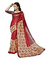 Divyaemporio Women Cotton Silk Self Print With Blouse Piece Sarees (V-13337 _Multi-Coloured _Free Size)