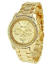 Geneva Platinum 9073 Women's Decorative Chronograph Rhinestone-accented Link Watch-GOLD