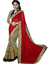 Sapphire Fashions Women's Red Georgette Saree