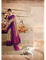 Brijraj Beige Purple Pink Bhagalpuri Silk Beautiful Printed Saree With Unstitch Blouse