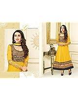 Karishma Kapoor Yellow Georgette Anarkali Churidaar Suit