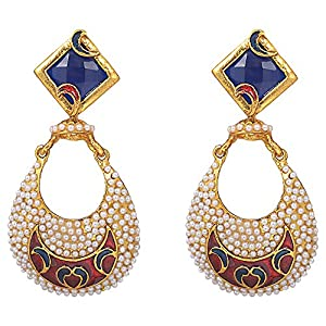 Aura Accessories Red and Blue Chand Bali Earring