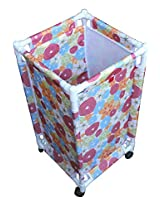 Flower Design Oxford Fabric Clothes Laundry Basket with Wheels, Size: 68.5 x 35 x 35, 1 Piece