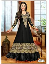 VandV Karishma Kapoor In Black Georgette Designer Semi Stitched Anarkali Suit