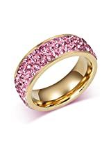 Asma Pink 3 row clear cz crystal 18k gold plated ring for women