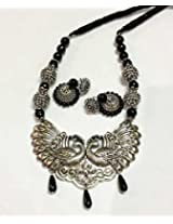German Silver Twin Peacock Pendant with Black Agates