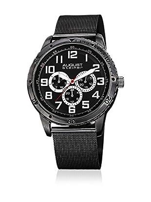 August Steiner Uhr mit japanischem Quarzuhrwerk  schwarz 45 mm