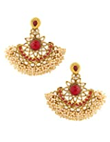 Voylla Pair Of Festive Dangler Earrings With Red Colroed Stones [Jewellery]