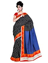 Orbymart Black Colored Raw Silk Printed Saree - FABOURSR7350CRM
