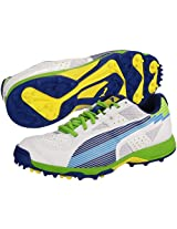 Puma 10264403 Evospeed Rubber Cricket Shoes, Men's Size 8 (White/Monaco Blue/Jasmine Green/Fluo  Yellow)