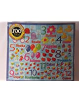 Good Old Values 100 Piece Jigsaw Puzzle Flowers Presents Ducks Cones Socks Strawberries Cups Snails Apples