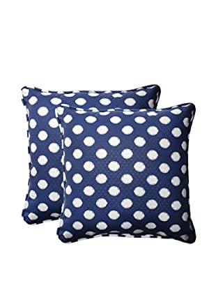 Set of 2 Outdoor Solar Spot Pool Square Corded Toss Pillows (Navy/Cream)