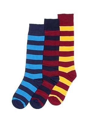 Sockaholic Pack de 3 Pares Calcetines Caña Alta Rayas Harry+Jordi+Pepe (Multicolor)