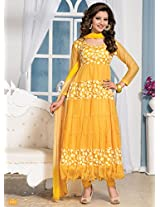 Rozdeal Beautiful Latest Net And Brasso Yellow Designersemi Sttiched Anarkali Suits