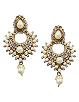 Lalso Gold Plated Designer Stylish White Pearl Earrings For Wedding, Diwali, Festival, Navratri, Party, Gift - LAE19W