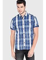 Blue Check Slim Fit Casual Shirt Locomotive