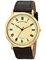 Stuhrling Original Men's 645.05 Classique Swiss Quartz Ultra Slim Gold Tone Leather Watch