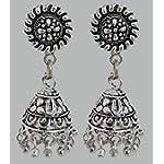 Silver Brass Oxidised Silver Fashion Stud Earring german silver earring for womens & girls