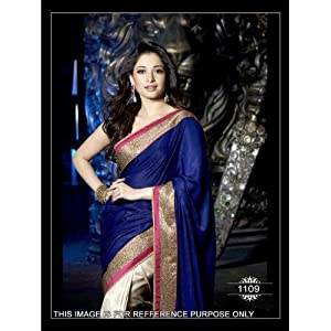 Tamanna Silk Blue Embroidered Bollywood Style Saree