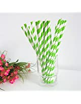 PrettyurParty Striped Paper Straw (Pack of 10) - Lime Green