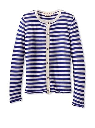 MARNI Women's Striped Crewneck Cardigan (Blue/White)