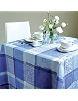 "Garnier Thiebaut - French MILLE WAX Ocean Blue Jacquard Cotton Tablecloth - 51"" x 67""-Summer 2014 Collection"