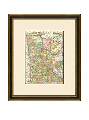 Antique Lithographic Map of Minnesota, 1886-1899