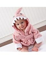 Animal Cartoon Owl Shark Hippo Baby Infant Hooded Wrap Bathrobe Bath Beach Towel (Pink)
