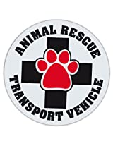 "4.75"" Round Pet Magnets: ANIMAL RESCUE TRANSPORT VEHICLE 