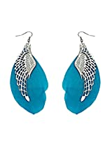 Ashiana Delicate Blue Feather Metal Angel Wing tassel Dangle Hook Pendant Earrings