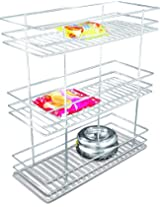 Coffee Stainless Steel Kitchen Three shelf pullout Basket, 6x20x21 inches, Silver, 1-piece