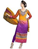 Vibes Women Gorgette Salwar Suit Dress Material (V170-1408 -Multi-Coloured -Free Size)
