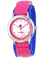 Red Balloon Kids W000194 Time Teacher Stainless Steel Watch with Pink and Blue Nylon Band