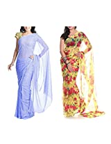 MemSahiba Women Semi-Chiffon Saree set of 2 (MS-1046-652)