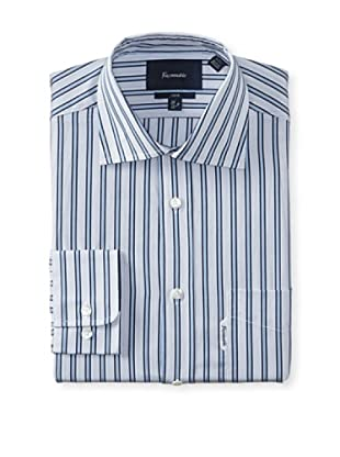 Façonnable Men's Club Fit Striped Dress Shirt (Navy Blue Multi)