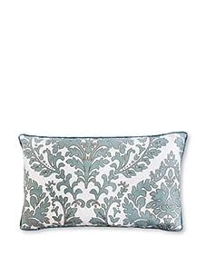 """Jiti Turkish Leaves 12"""" x 20"""" Silk Pillow (Aqua)"""