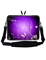 Meffort Inc 15 15.6 inch Laptop Sleeve Bag Carrying Case with Hidden Handle and Adjustable Shoulder Strap - Purple Swirl Butterfly Design
