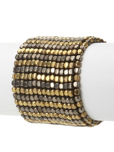 La Croix Rousse Beaded Bracelet, Gold/Gunmetal