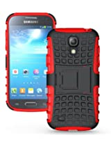 JKase DIABLO Series Tough Rugged Dual Layer Protection Case Cover with Build in Stand for Galaxy S4 Mini i9190 - Red